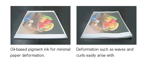 Oil-based ink with low paper deformation. Water-based ink is prone to deformation such as undulations and curling.