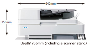 Width:640mm Height:255mm Depth:755mm (Including a scanner stand)