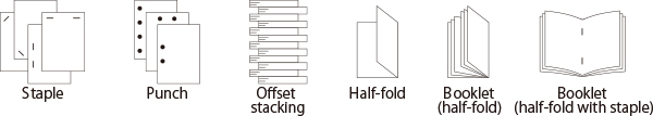 Staple,Punch,Offset stacking,Half-fold,Booklet(half-fold),Booklet(half-fold with staple)