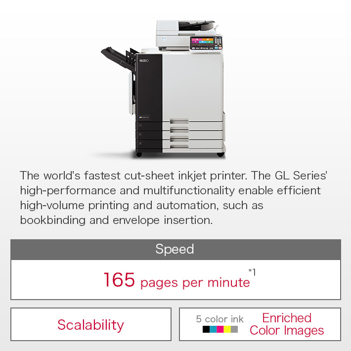 Extremely economical, high-speed color printers that boast the fastest printing speeds in the world.  Can be further automated, to include Perfect Binding and sealed mail making.	Speed:World's fastest 160 pages per minute / Scalability / 5 color ink Enriched Color Images